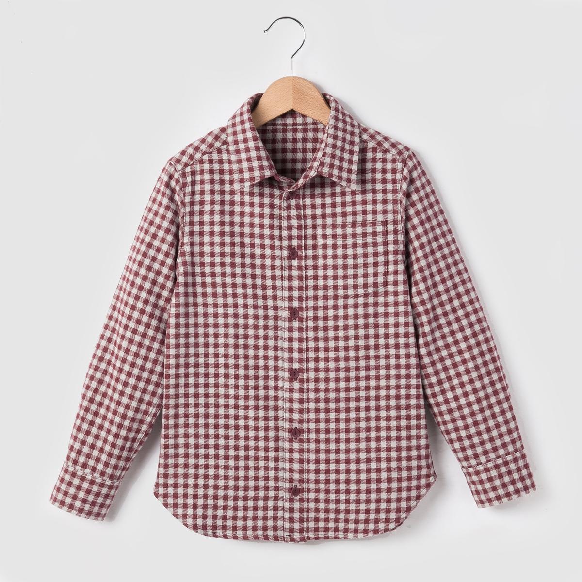 Рубашка в клетку с фланелевым эффектом, 3-12 лет