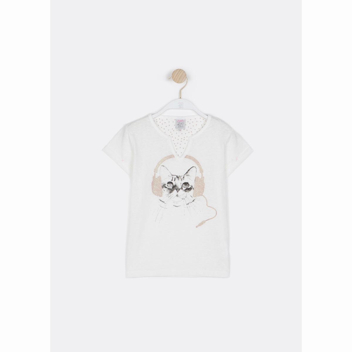 Футболка с рисунком кот, 100% хлопка, для 6 - 16 лет футболка с рисунком ананас 100% хлопка для от 1 месяца до 3 лет