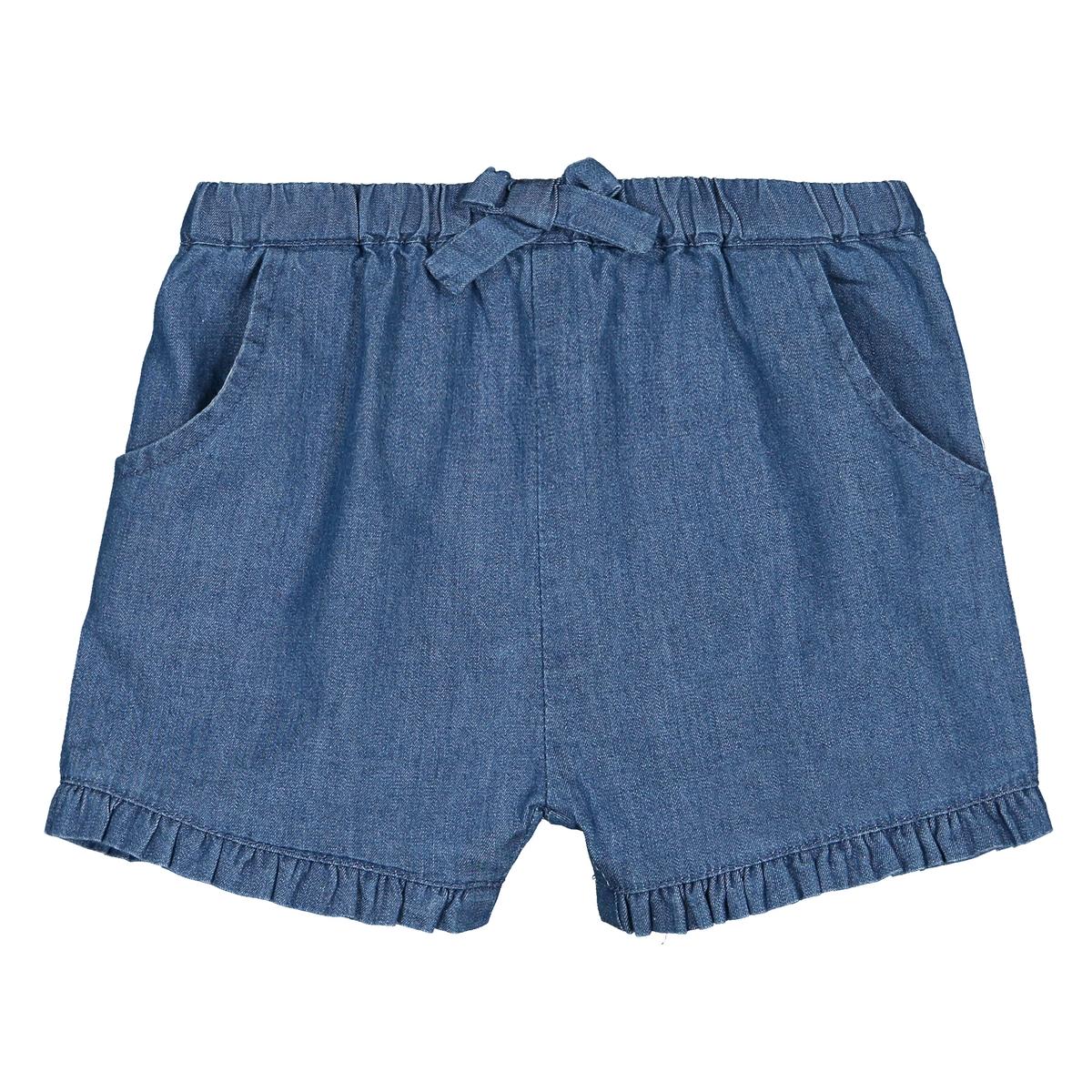 Шорты-шаровары La Redoute С воланом из джинсовой ткани 1 мес - 3 года 94 см синий