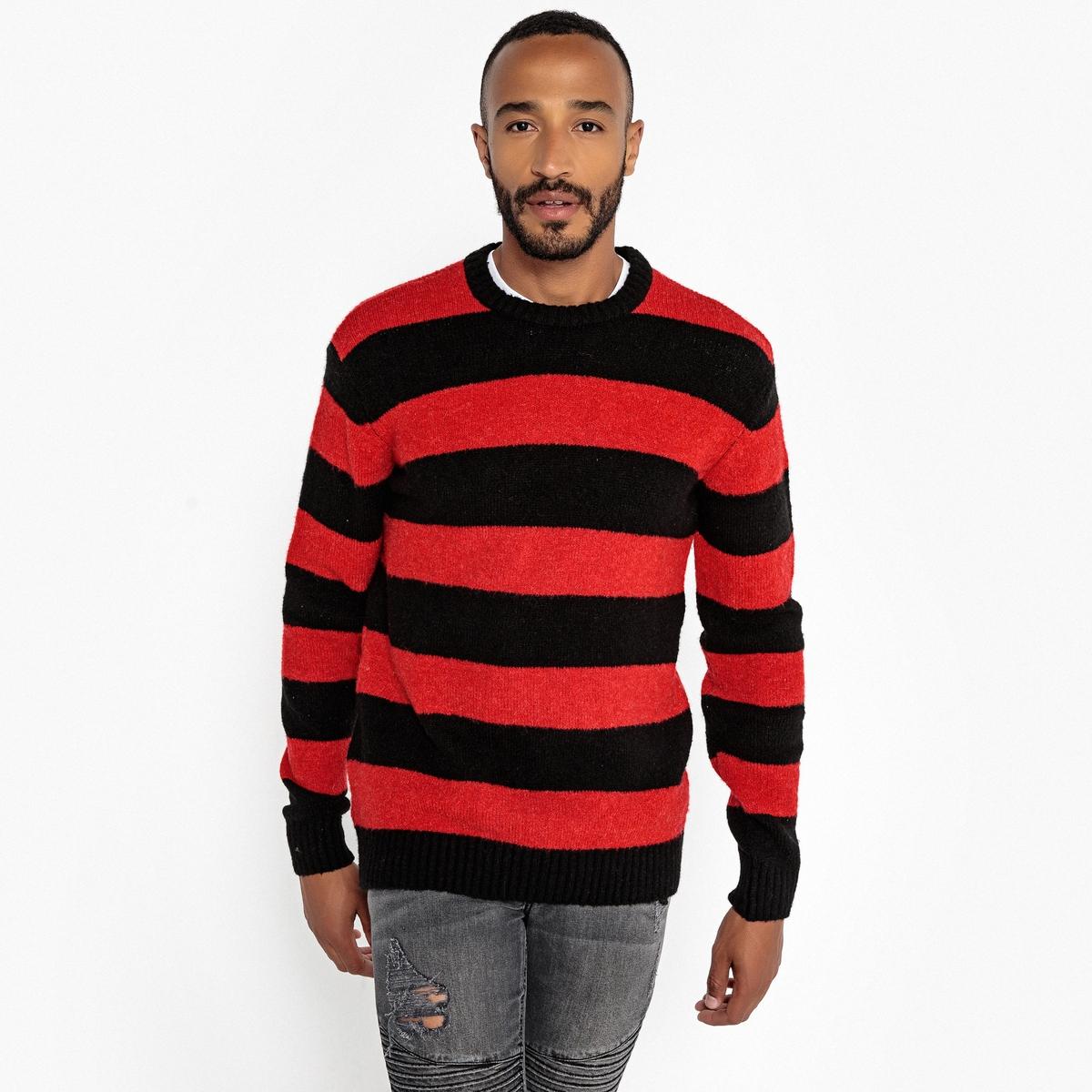 Пуловер свободного покроя с круглым вырезом из плотного трикотажа