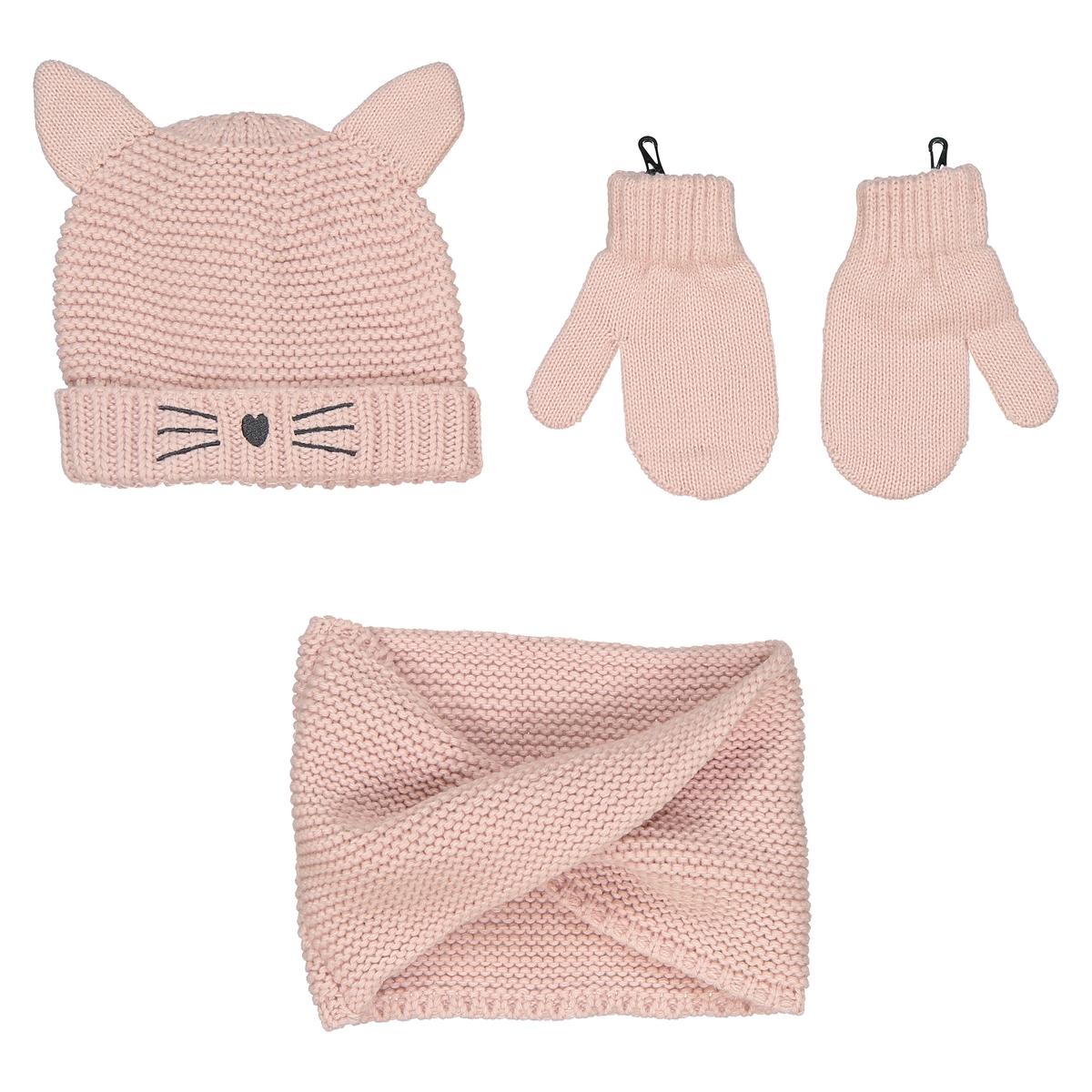 все цены на Комплект шапка варежки и шарф La Redoute мес - года 0/3 мес. - 50/60 см розовый онлайн