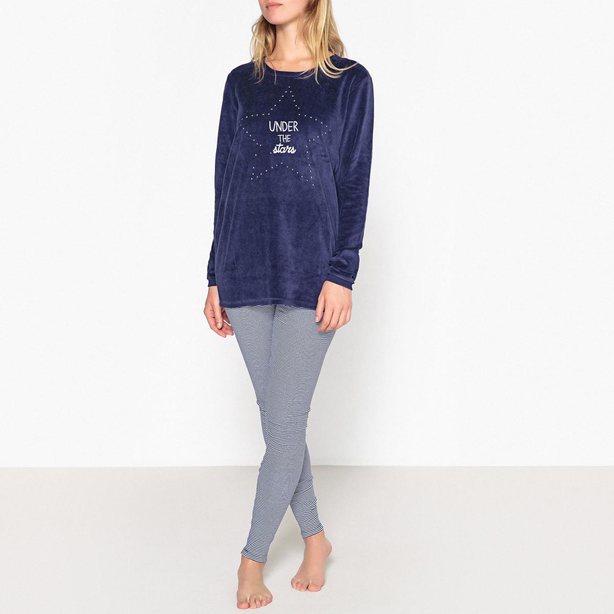 Pijama con parte superior de terciopelo