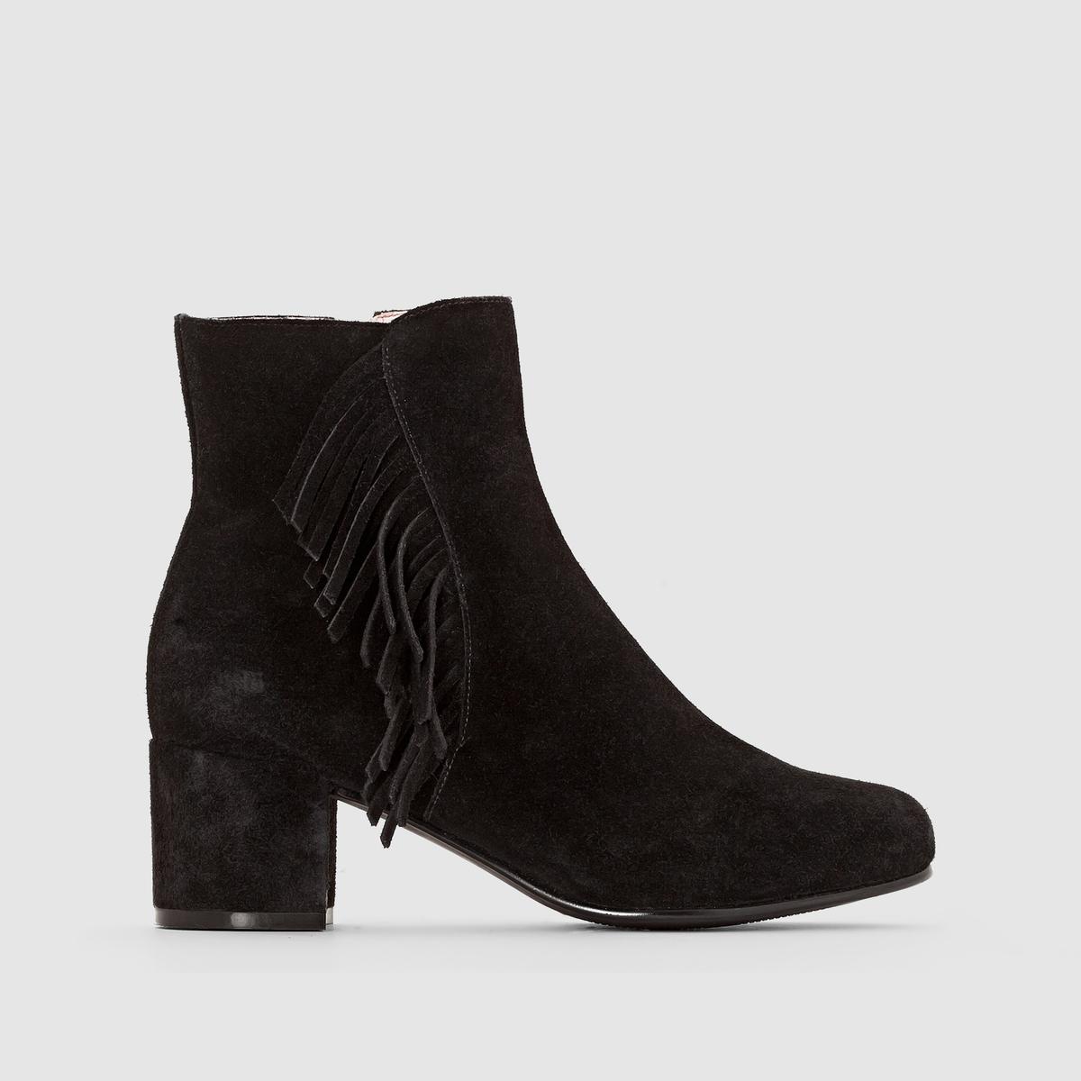Ботинки замшевые на каблуке AbbyВерх : Замша телячья    Подкладка   : Свиная кожа     Подошва : Синтетический материал    Высота каблука : 5.5 см   Застежка : на молнию<br><br>Цвет: черный<br>Размер: 37