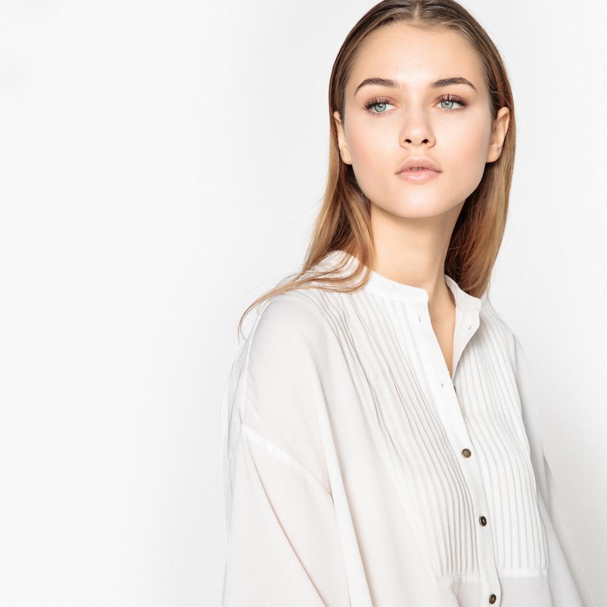 Блузка асимметричная с плиссировкой на пластроне