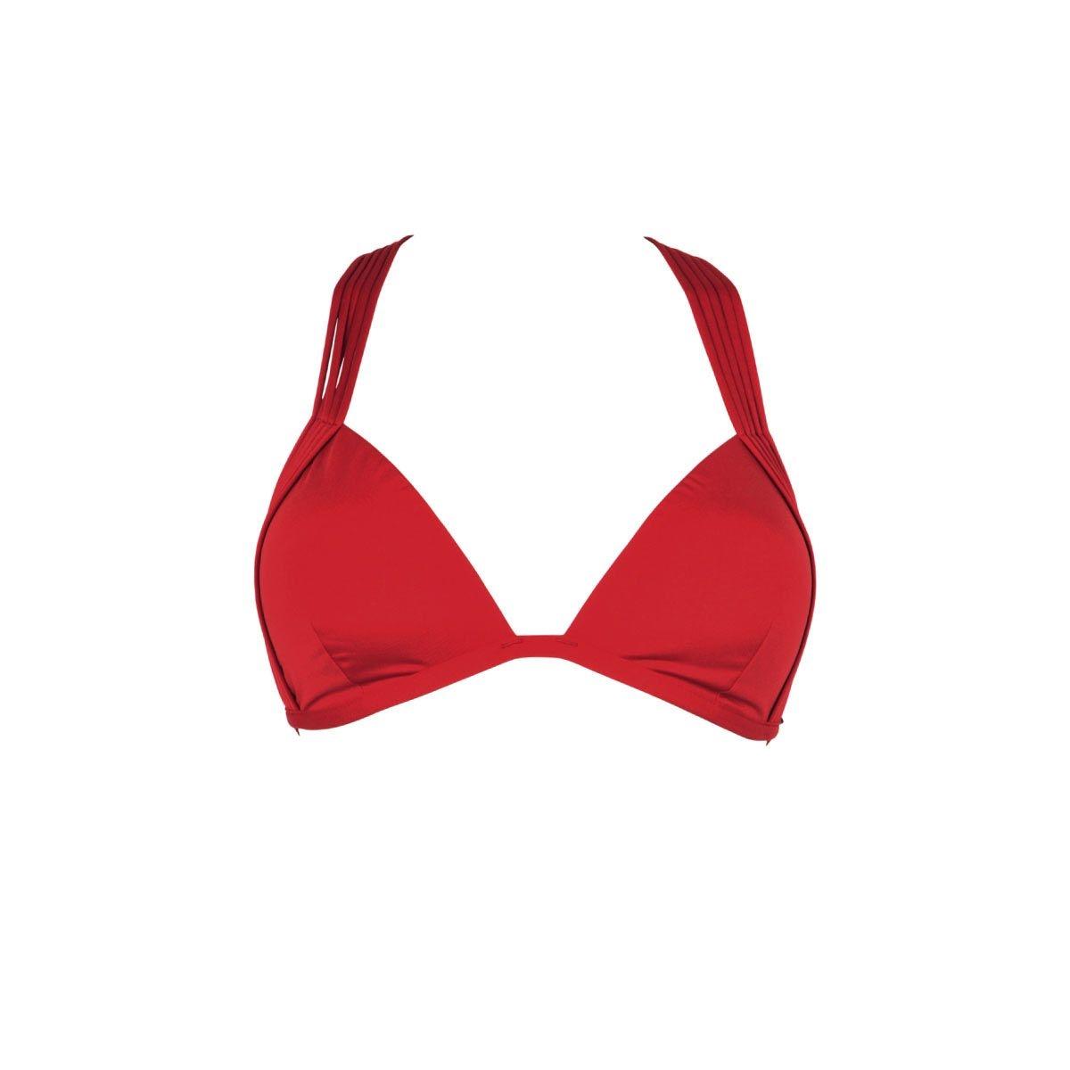 Maillot de bain triangle rouge carmin Indira (Haut)