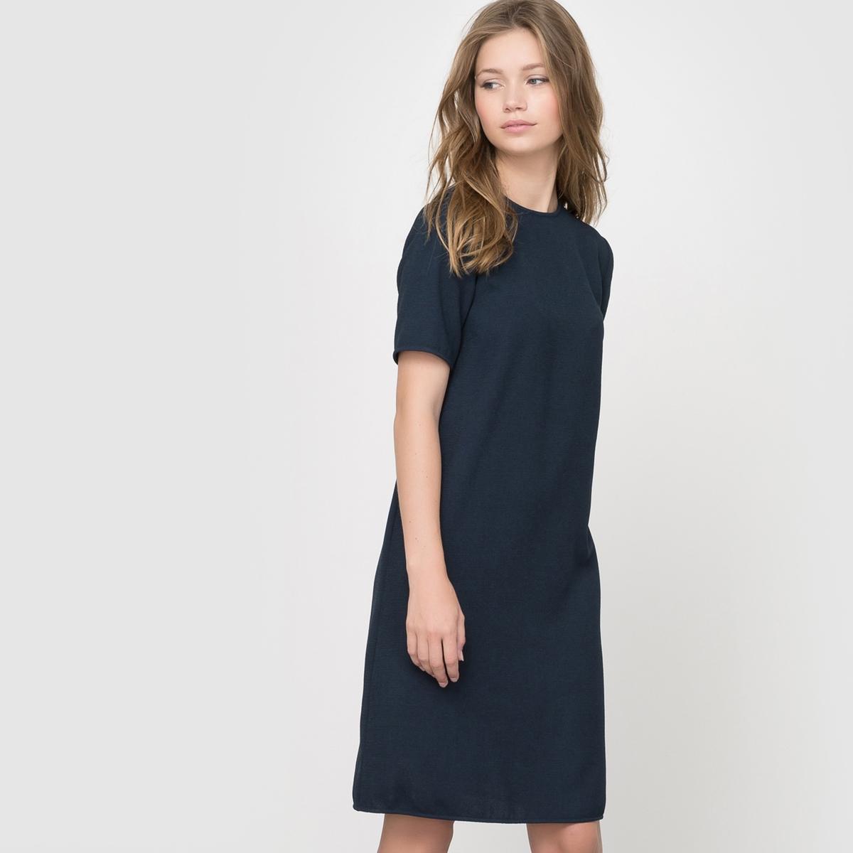 Платье с короткими рукавамиПлатье с короткими рукавами .Изящный прямой покрой, комфортный при носке . Небольшой круглый вырез . Застежка на молнию сзади. . 100% полиэстера с рельефным эффектом . Подкладка 100% полиэстера только для цвета слоновой кости  . Длина 92 см .<br><br>Цвет: темно-синий<br>Размер: 44 (FR) - 50 (RUS)