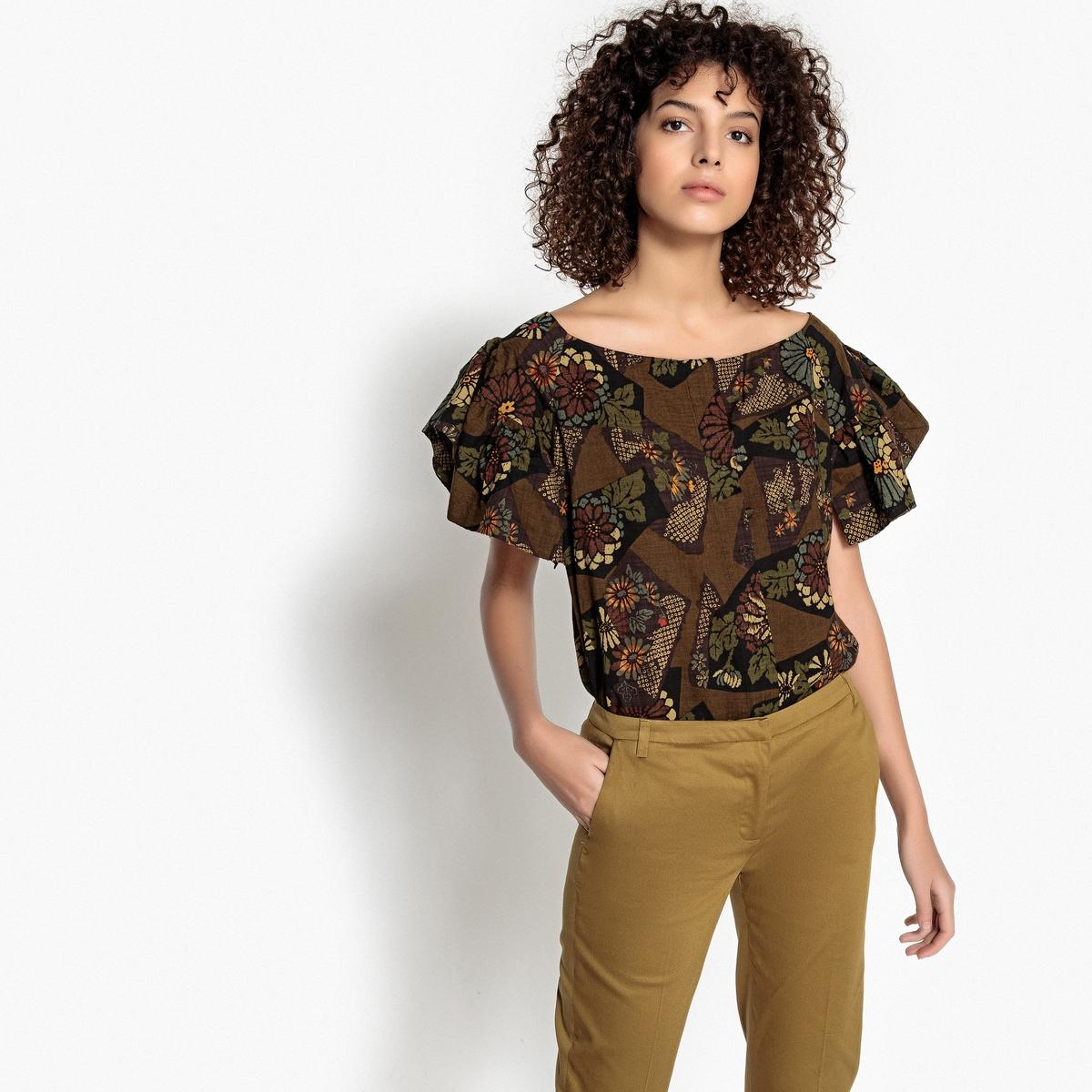Блузка с этническим рисунком  короткими рукавами