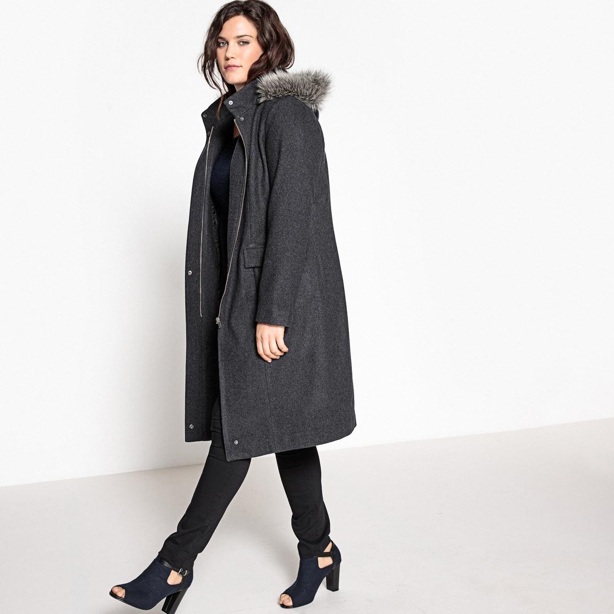 Пальто с капюшоном из искусственного мехаОписание:Вам захочется закутаться в это длинное пальто с капюшоном, которое защитит вас в любую непогоду. Пальто с капюшоном из шерстяного драпа незаменимо в вашем гардеробе.Детали •  Длина : удлиненная модель •  Капюшон •  Застежка на молнию •  С капюшоном Состав и уход •  60% шерсти, 1% полиамида, 39% полиэстера •  Подкладка : 100% полиэстер • Не стирать • Низкая температура глажки / не отбеливать   •  Не использовать барабанную сушку  •  Деликатная сухая чисткаТовар из коллекции больших размеров •  Супатная застежка на молнию и кнопки  •  2 кармана с клапанами •  Капюшон с опушкой из искусственного меха. •  Длина : 106 см.<br><br>Цвет: серый меланж<br>Размер: 54 (FR) - 60 (RUS).50 (FR) - 56 (RUS).48 (FR) - 54 (RUS)