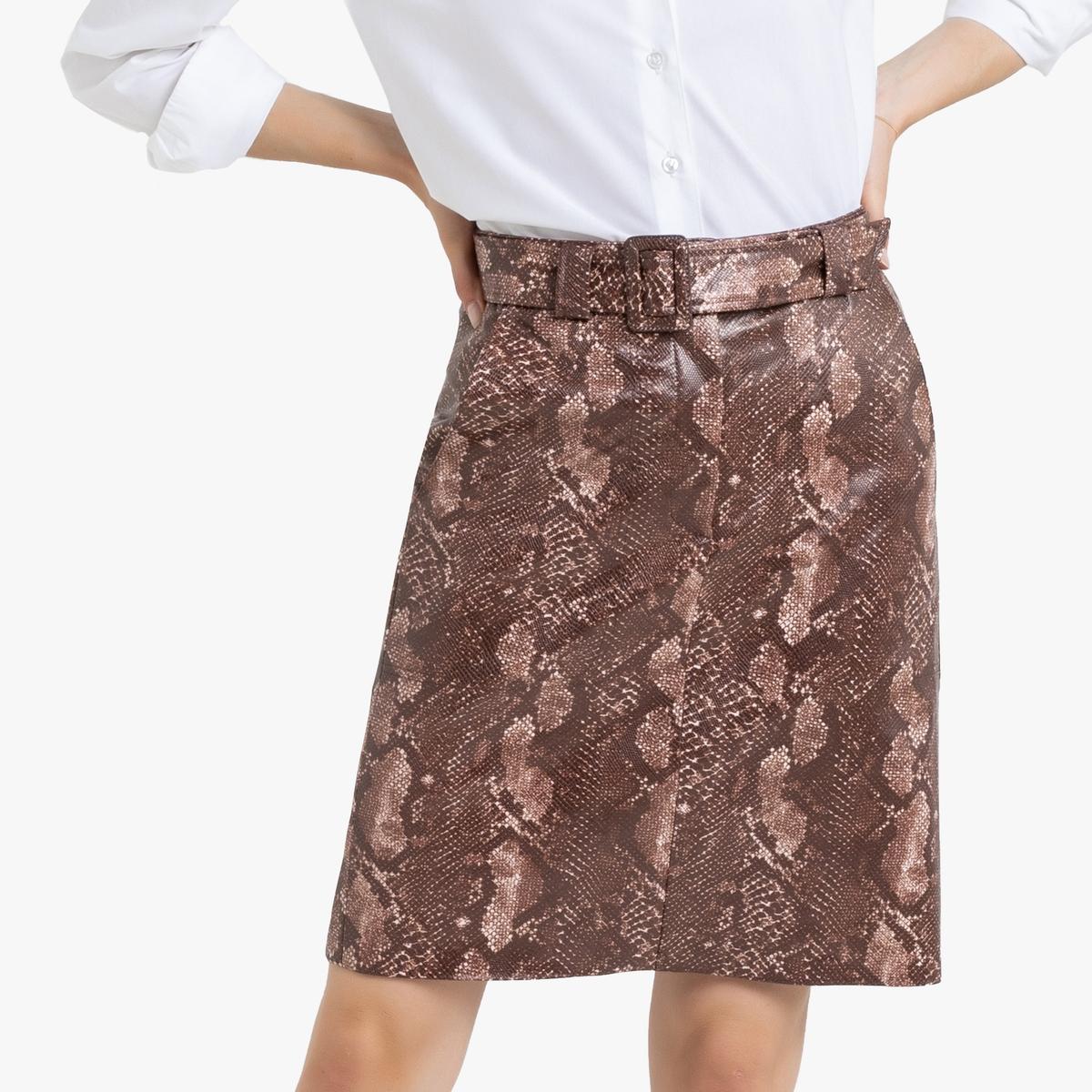 Falda recta con estampado pitón