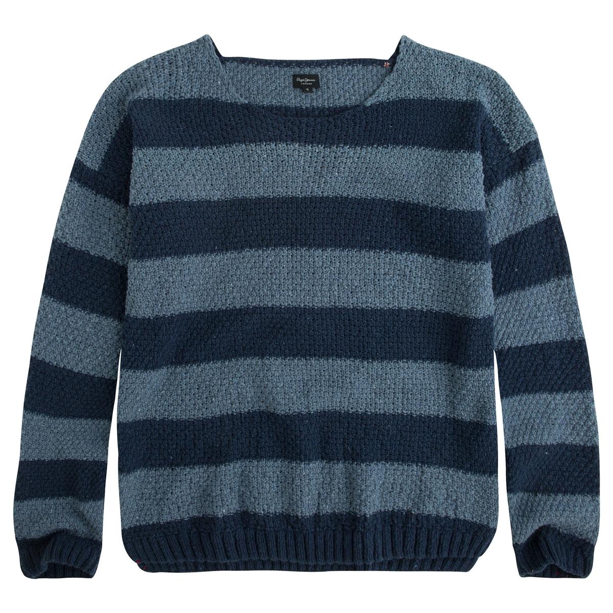 Пуловер в полоску из хлопкаМатериал : 20% шерсти, 80% хлопка  Длина рукава : длинные рукава  Форма воротника : высокий воротник  Покрой пуловера : стандартный  Рисунок : в полоску<br><br>Цвет: темно-синий в полоску