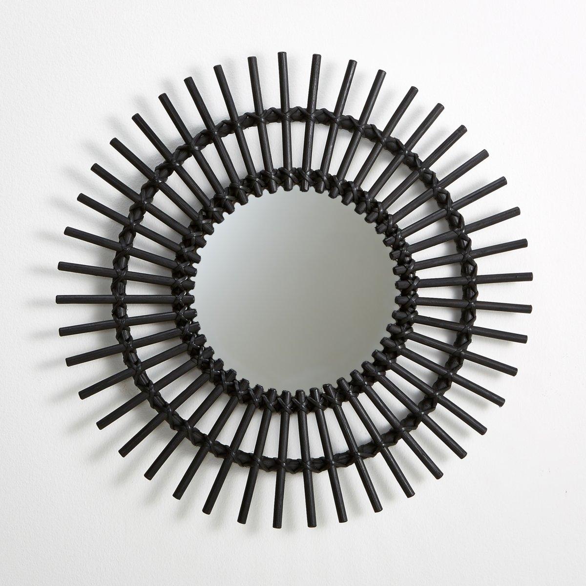 Винтажное зеркало Nogu из ротанга в форме солнца