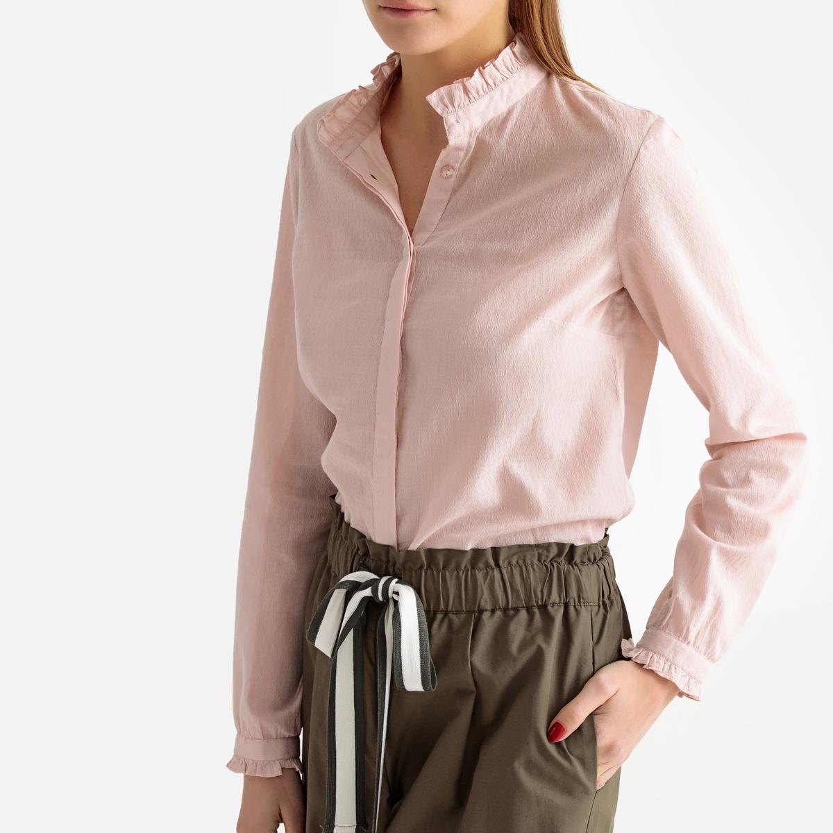Блузка прямая с воротником-стойкой и длинными рукавами rnt23 черный пиджак с воротником стойкой