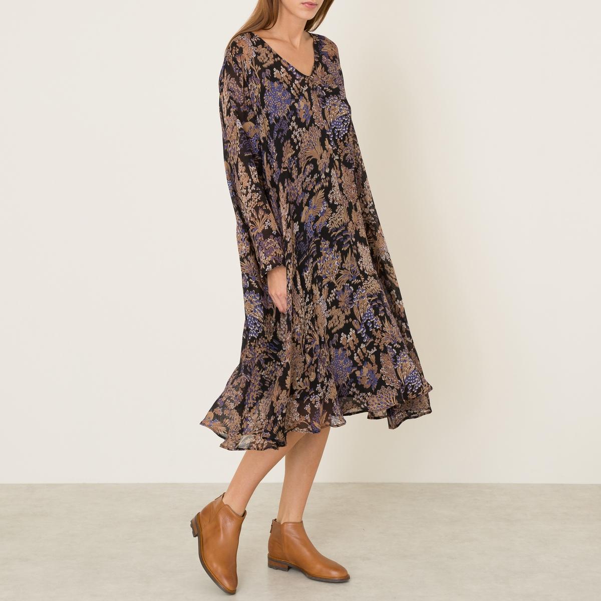 Платье длинное TOSCANEСостав и описание   Материал : 100% шелк   Длина : 118 см. (единый размер)   Марка : MES DEMOISELLES<br><br>Цвет: черный<br>Размер: 38/40 (FR) - 44/46 (RUS)