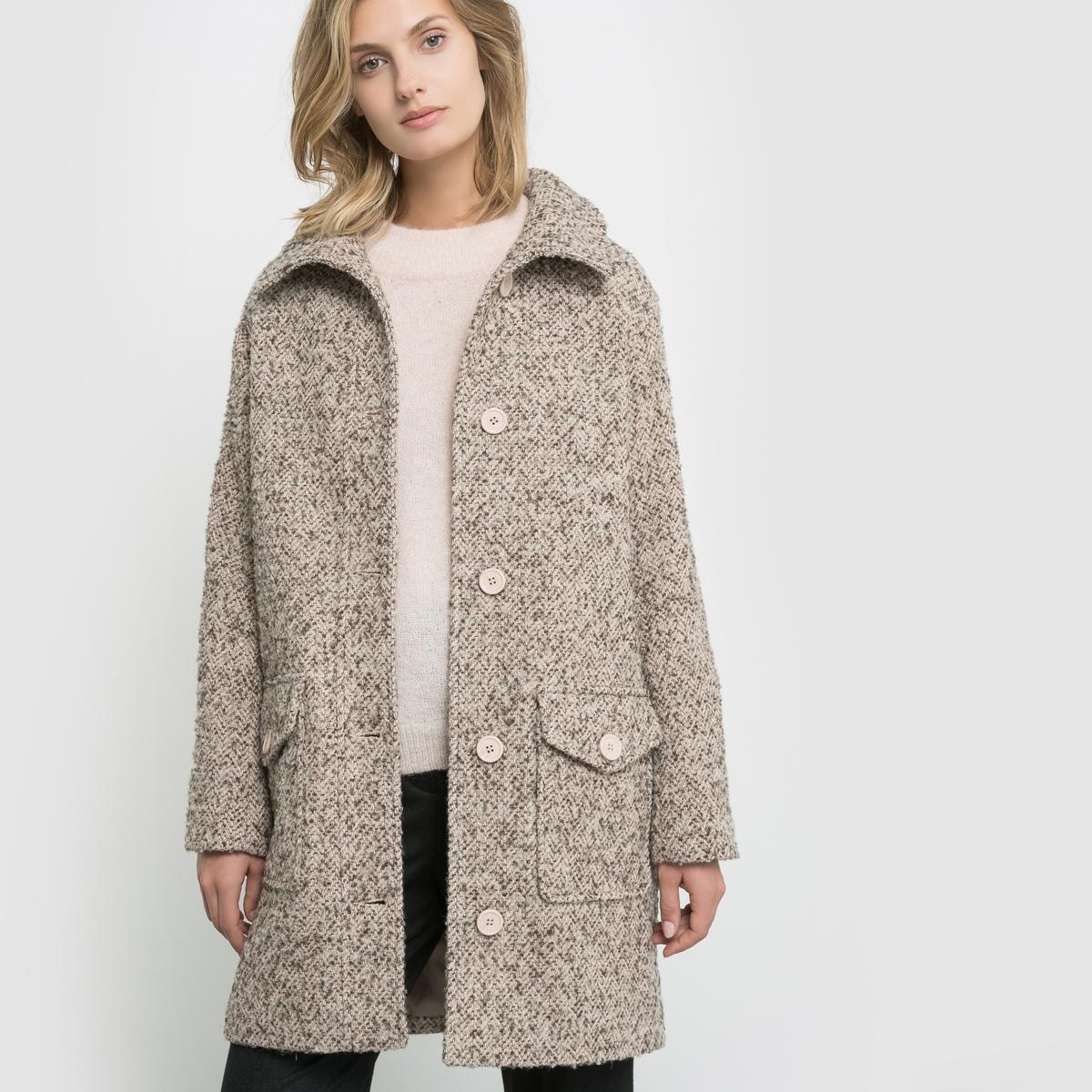 Abrigo de rizo en tejido tweed