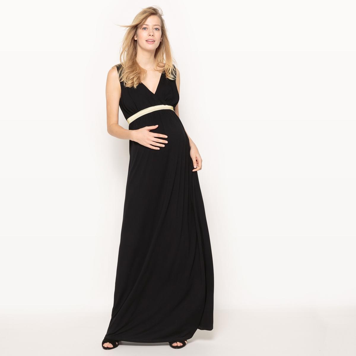 Платье для периода беременности длинное из джерсиМатериал : 95% вискозы, 5% эластана             Длина рукава : без рукавов             Форма воротника : V-образный вырез            Покрой платья : длинное платье            Рисунок : однотонная модель             Особенность платья : с драпировкой            Длина платья : длинная            Стирка : машинная стирка при 30 °С в деликатном режиме            Уход : сухая чистка и отбеливание запрещены            Машинная сушка : запрещена            Глажка : при низкой температуре<br><br>Цвет: черный<br>Размер: 40 (FR) - 46 (RUS).42 (FR) - 48 (RUS)