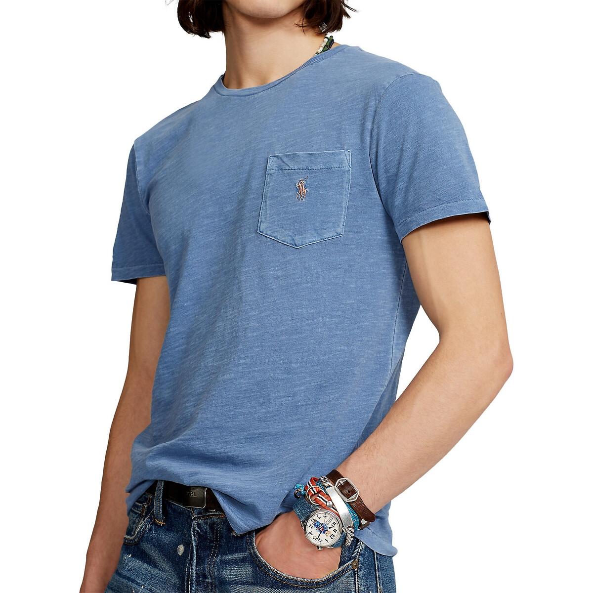 Футболка LaRedoute Из хлопка с карманом L синий футболка good story акула с карманом серый l
