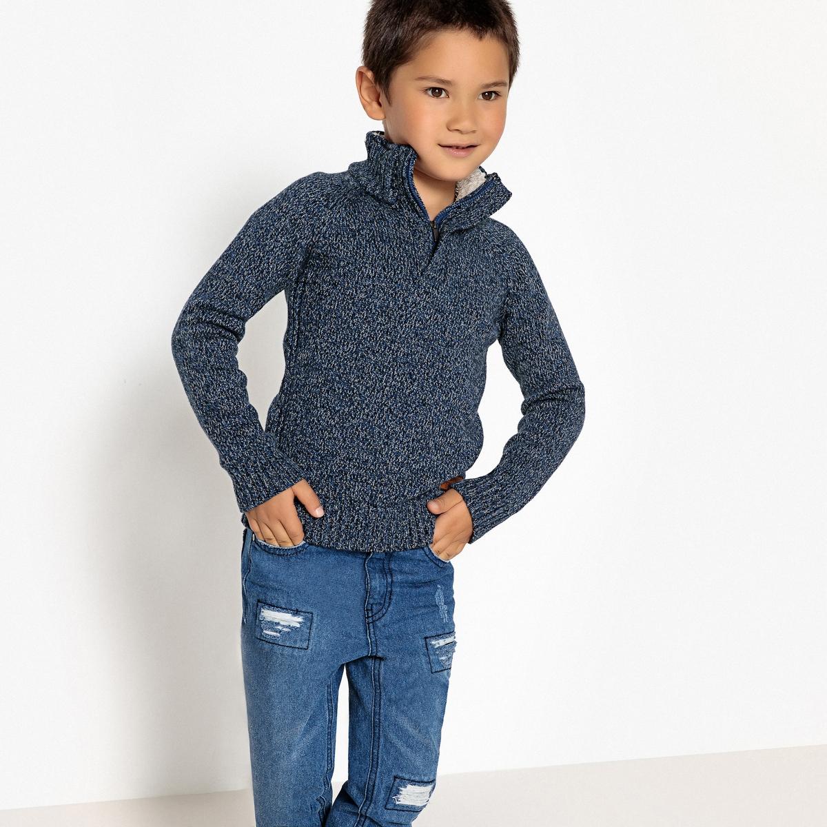 цена Пуловер La Redoute Теплый с воротником-стойкой на молнии 3 года - 94 см синий онлайн в 2017 году