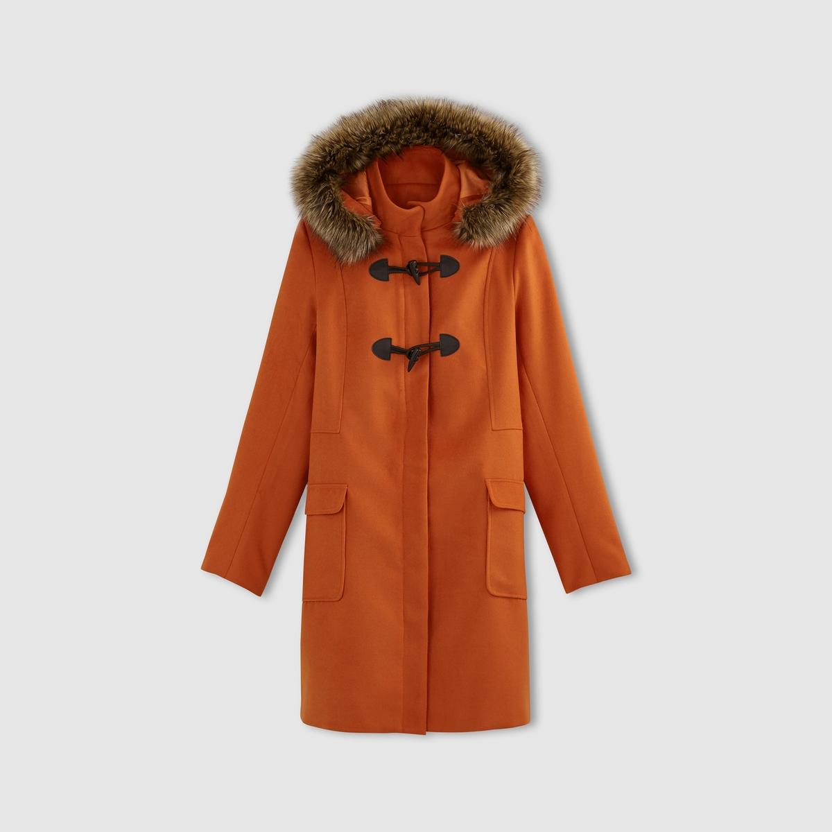 Короткое пальто с капюшономСостав и описаниеМатериал              88% полиэстера, 10% вискозы, 2% эластанаПодкладка           100% полиэстер  Искусственный мех 80% акрила 20% полиэстера Длина          92 смМарка:  R ?dition.  УходСухая чистка или машинная стирка при 30° (с одеждой подобного цвета) - Не отбеливать - Не гладить -Барабанная сушка запрещена<br><br>Цвет: бордовый,оранжевый,синий морской,черный<br>Размер: 50 (FR) - 56 (RUS).36 (FR) - 42 (RUS).42 (FR) - 48 (RUS).40 (FR) - 46 (RUS).38 (FR) - 44 (RUS).40 (FR) - 46 (RUS).38 (FR) - 44 (RUS)
