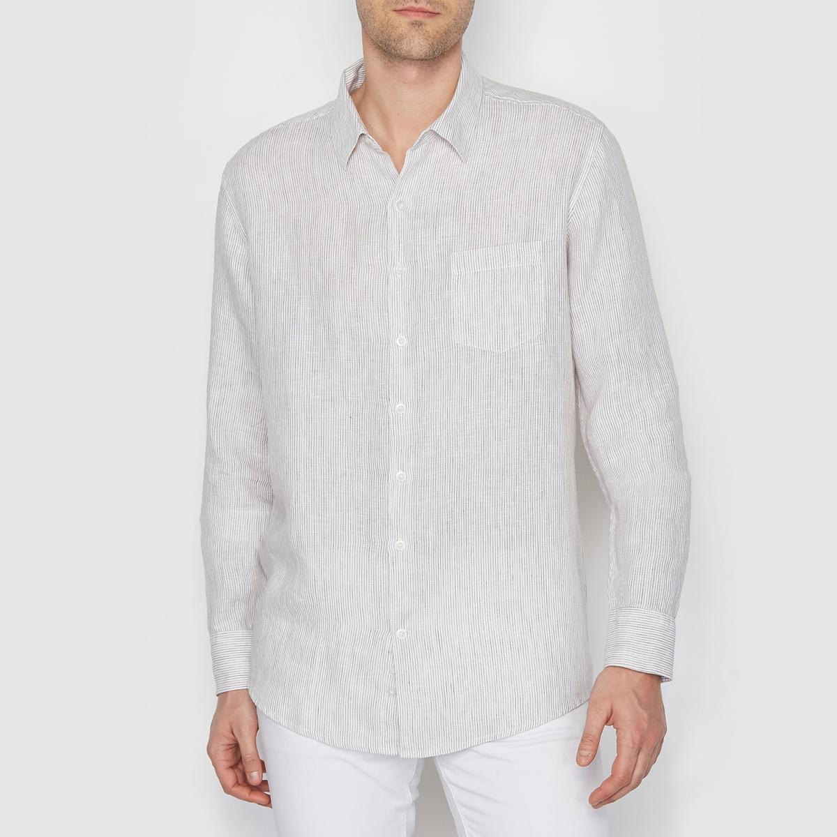 Рубашка в полоску, изо льна, R ESSENTIELСостав и описаниеМатериал: 100% льна. Марка: R ESSENTIEL.<br><br>Цвет: в бело-синюю полоску,в полоску белый/ бежевый