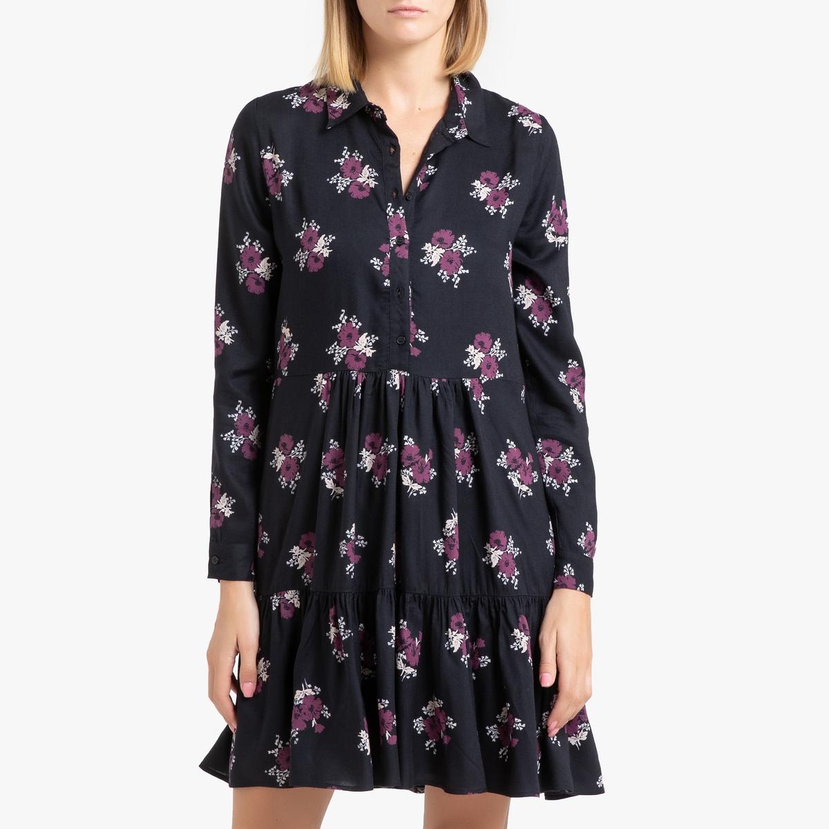 Платье La Redoute Короткое с длинными рукавами ELSA XS черный