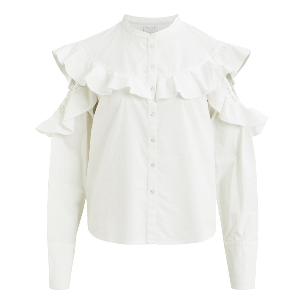 Рубашка однотонная с воротником-стойкой и длинными рукавамиОписание:Детали •  Длинные рукава •  Прямой покрой •  Воротник-стойкаСостав и уход •  100% хлопок •  Следуйте советам по уходу, указанным на этикетке<br><br>Цвет: белый<br>Размер: XS.S