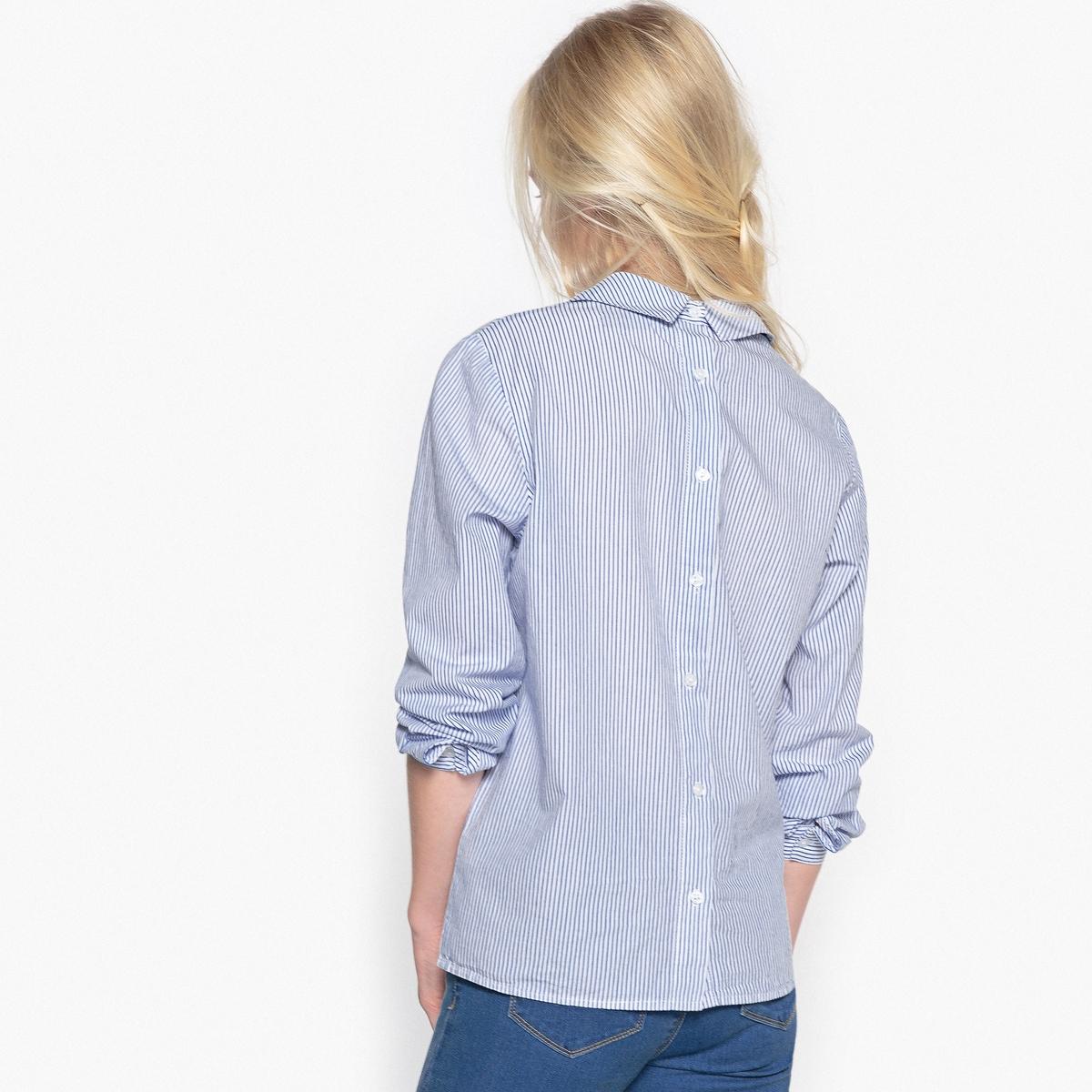 Рубашка в полоску с застежкой на пуговицы сзади, 10-16 летСостав и описание :    Материал       100% хлопок  Уход : Машинная стирка при 30 °C с вещами схожих цветов. Машинная сушка в умеренном режиме. Гладить при средней температуре.<br><br>Цвет: в полоску синий/белый