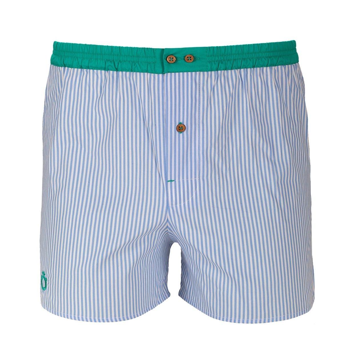 Caleçon wrap à rayures bleues avec ceinture verte