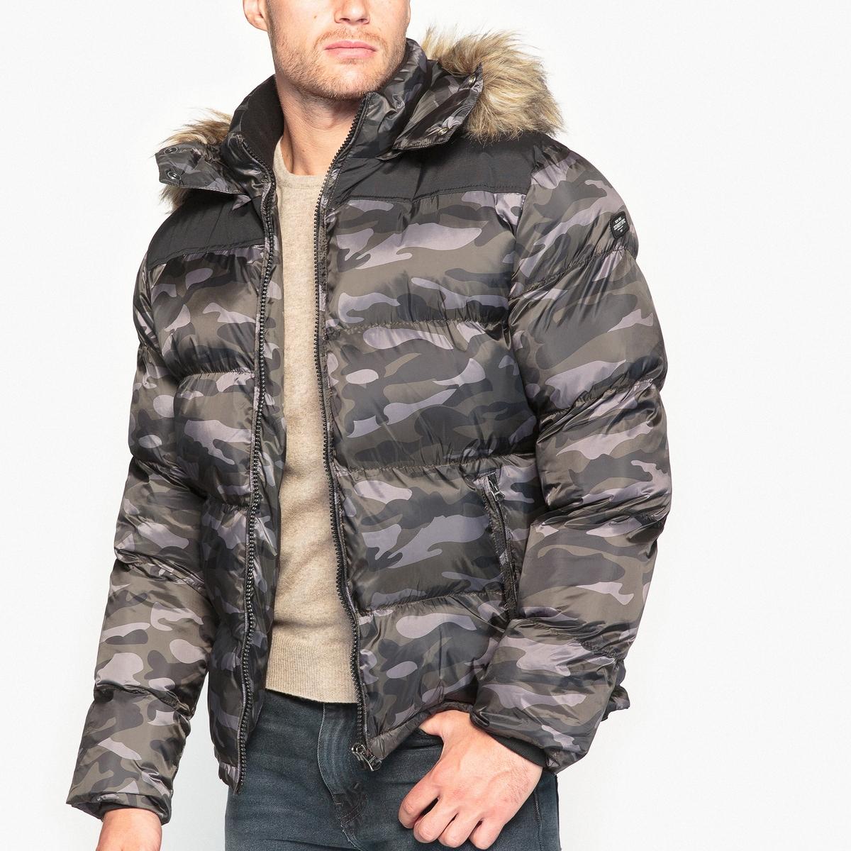 Куртка средней длины с капюшономОписание:Детали  •  Длина  : средняя  •  Капюшон  •  Застежка на молнию  •  С капюшоном Состав и уход  •  100% полиамид  •  Следуйте советам по уходу, указанным на этикетке<br><br>Цвет: камуфляж<br>Размер: L.M