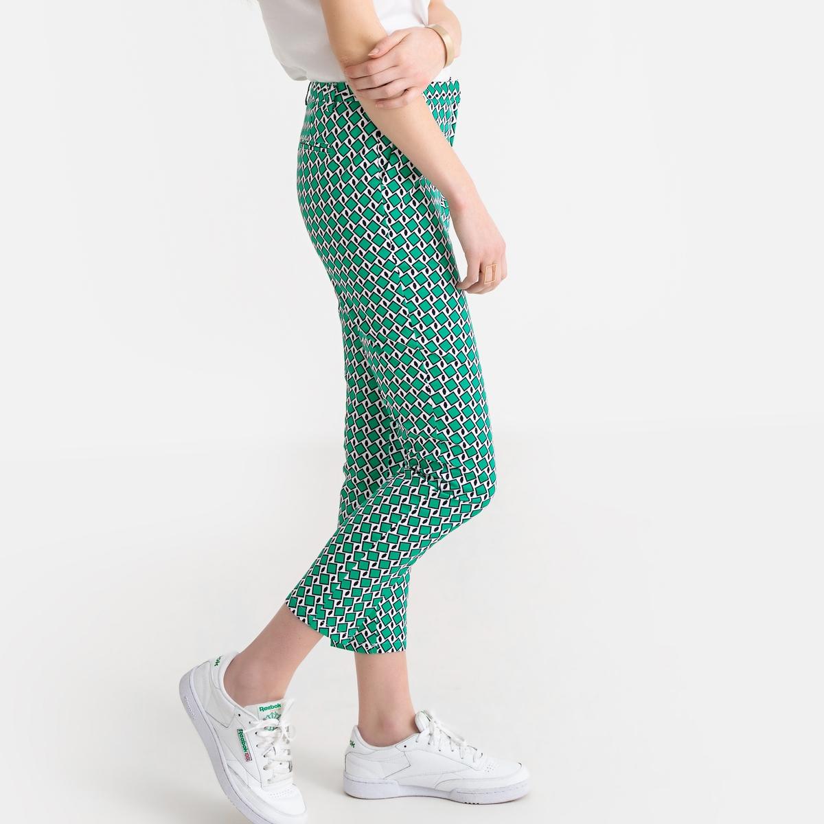 Брюки La Redoute Узкие с графическим рисунком 34 (FR) - 40 (RUS) зеленый брюки la redoute узкие дудочки с жаккардовым рисунком 50 fr 56 rus черный