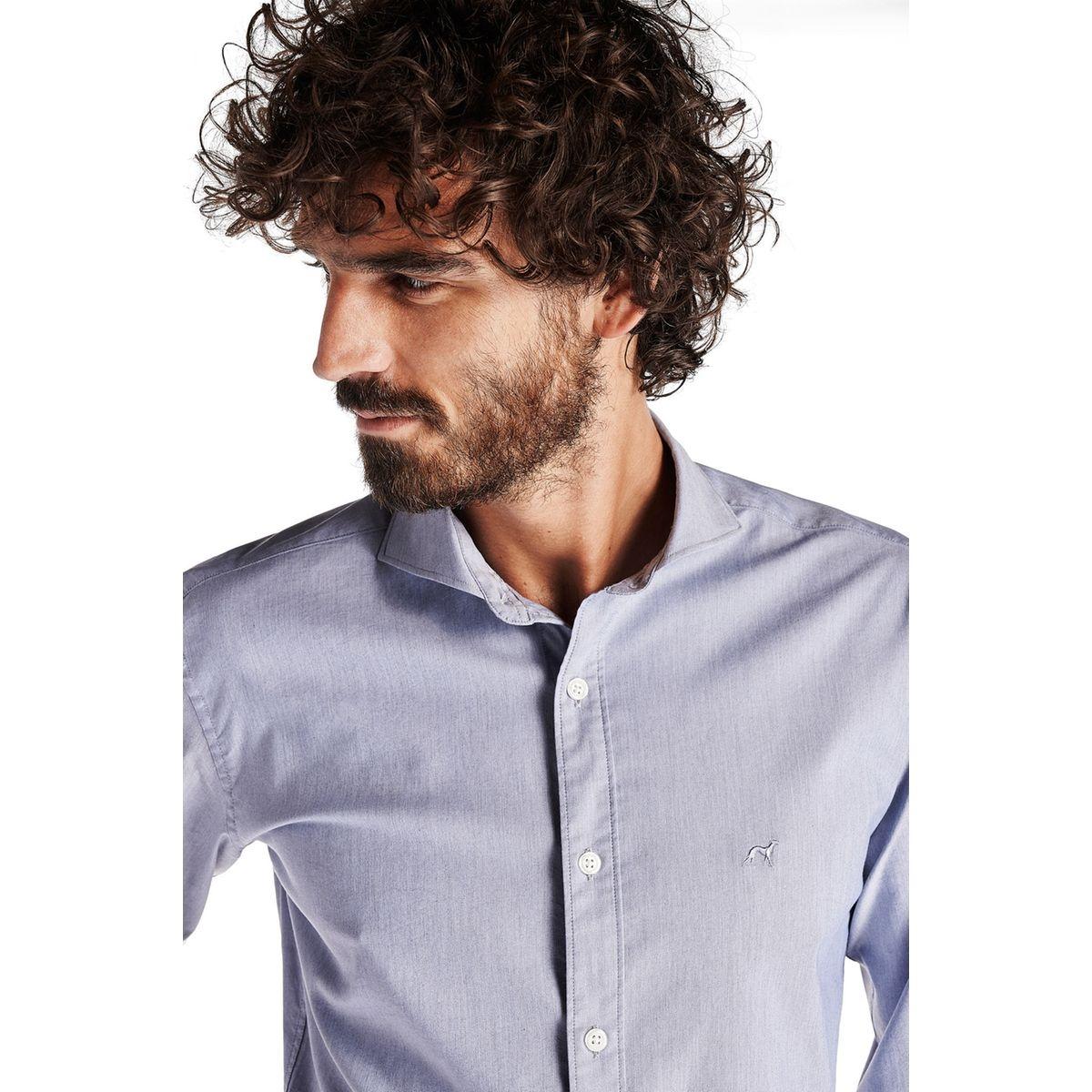 Chemise sport en coton à col ouvert et coupe slim