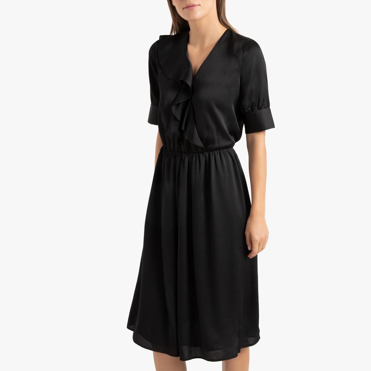 Платье La Redoute С запахом и воланом 34 (FR) - 40 (RUS) черный