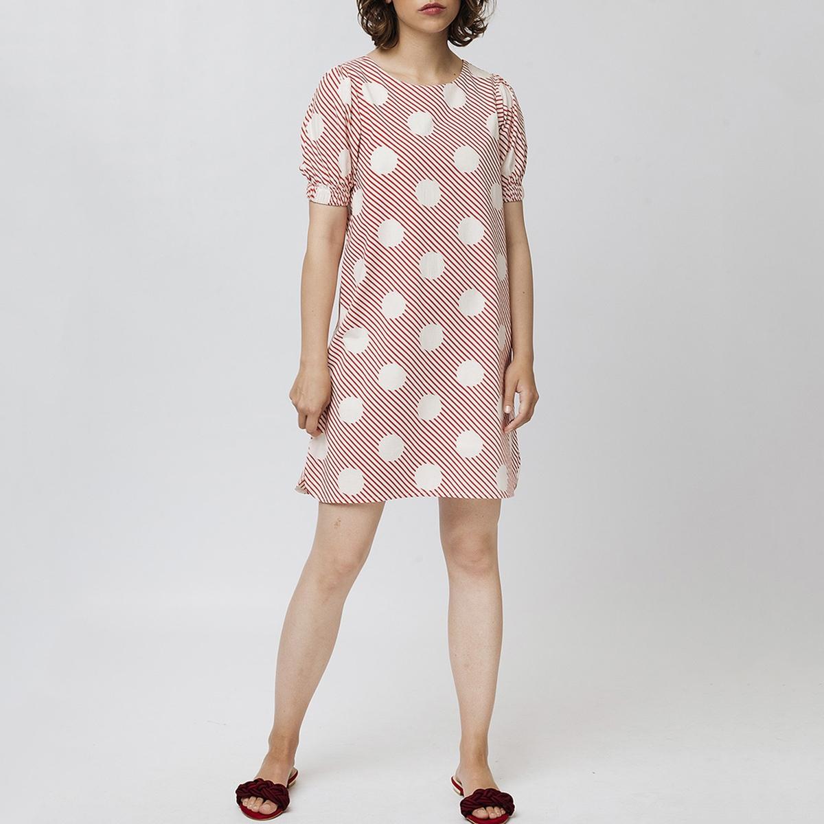 Платье La Redoute Короткое в горошек с напускными короткими рукавами XS красный