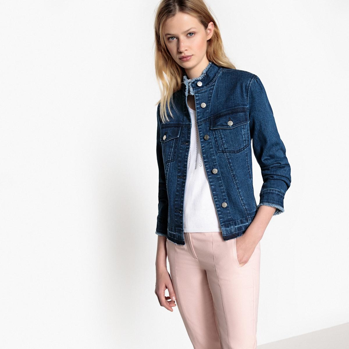 Жакет со стоячим воротником из джинсовой ткани