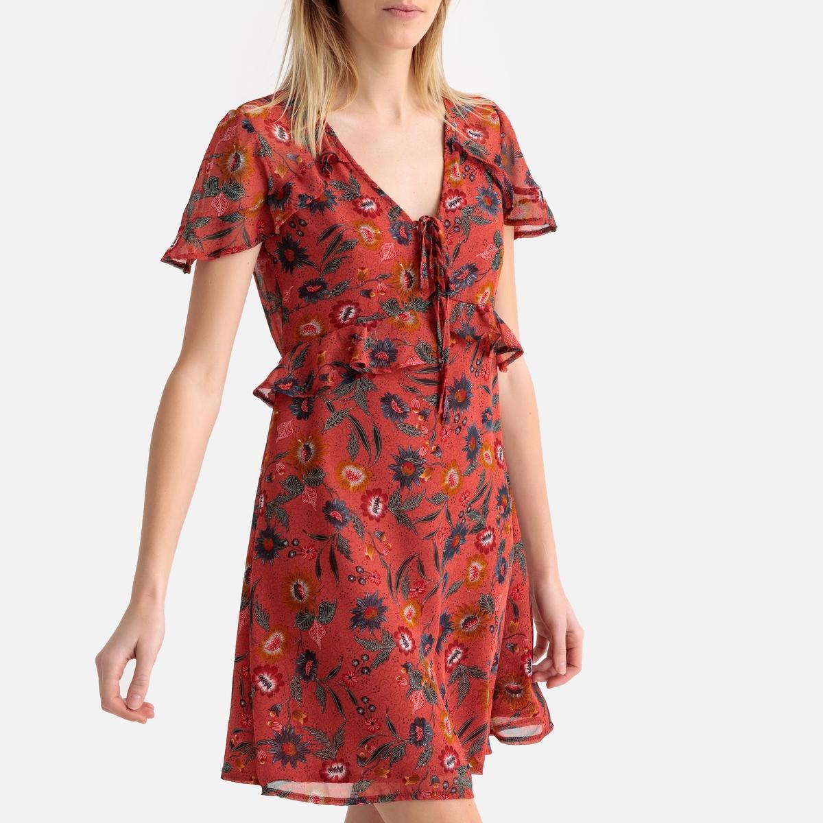 Платье La Redoute С цветочным рисунком короткими рукавами и воланами на груди S оранжевый black cover piano guitar music for iphone x xr xs max for iphone 8 7 6 6s plus 5s 5 se super bright glossy phone case