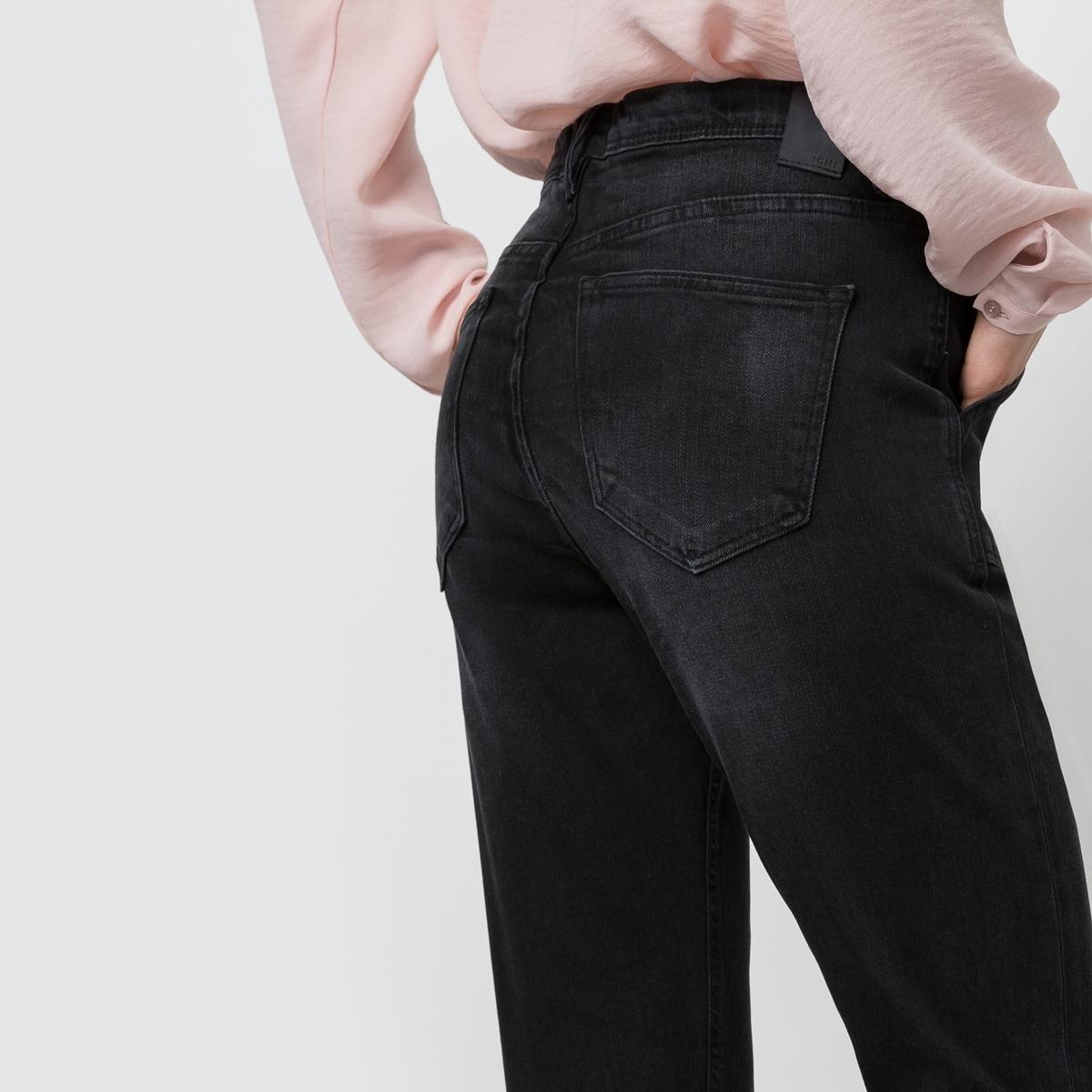 Джинсы укороченныеУкороченные джинсы ICHI. 2 косых кармана спереди. Линия талии завышенная.           Состав и описание:Материал: 98% хлопка, 2% эластана.     Марка:  ICHI.<br><br>Цвет: черный размытый