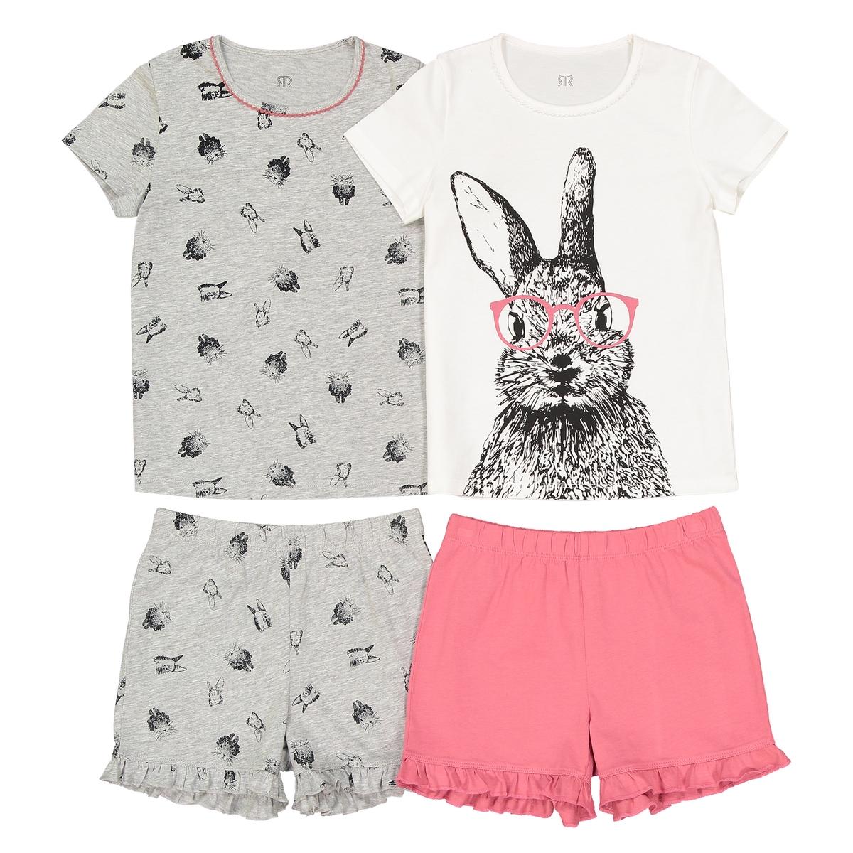 Комплект из 2 пижам с принтом заяц, 3-12 лет пижама с шортами с рисунком 2 12 лет
