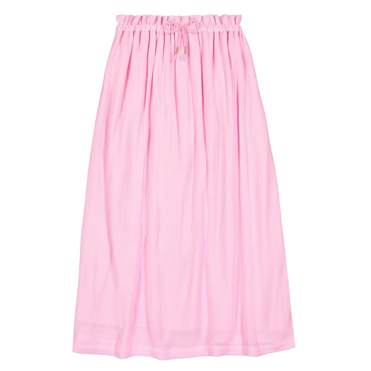 Фото - Юбка LaRedoute Длинная струящаяся 3-12 лет 3 года - 94 см розовый юбка laredoute прямая из легкого денима 3 12 лет 3 года 94 см синий