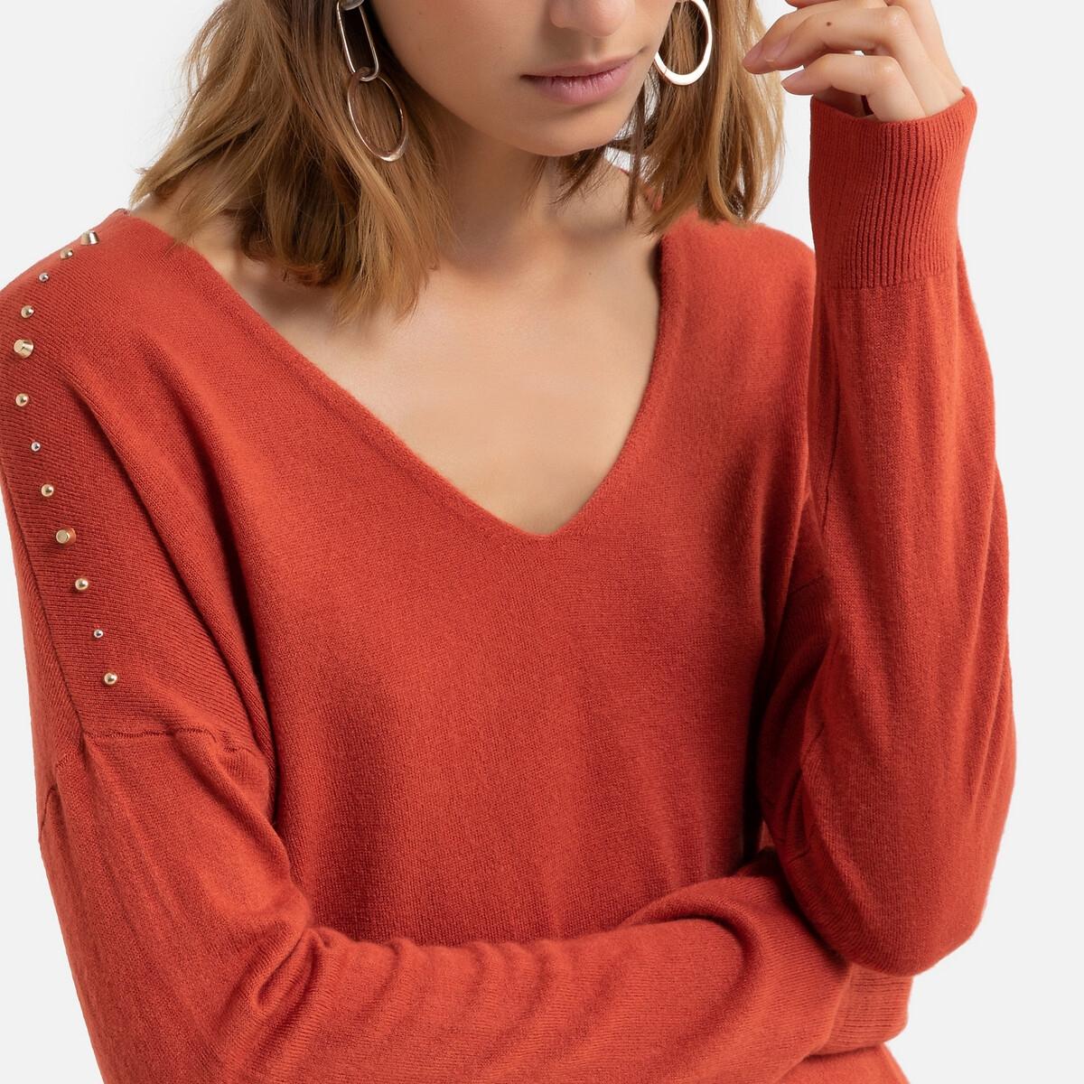 Фото - Пуловер La Redoute С V-образным вырезом из тонкого трикотажа с украшениями XS оранжевый пуловер la redoute с v образным вырезом из тонкого трикотажа florestine 2 m серый