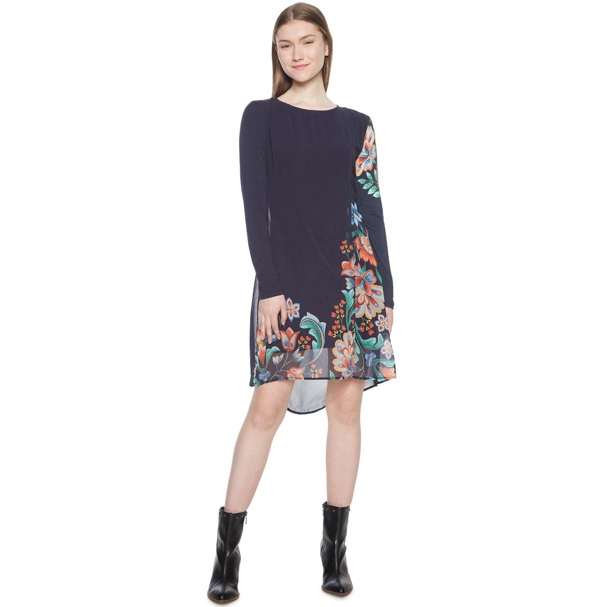 Платье из джерси с вуалью, с цветочным рисунком платье футляр с цветочным рисунком