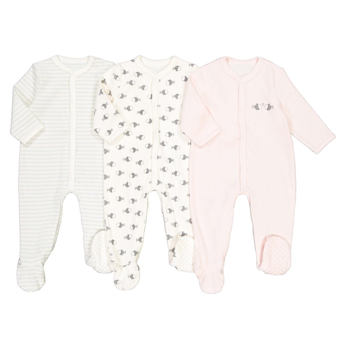 Набор La Redoute Из трех пижам для новорожденных из бархата детей 2х лет 1 год - 74 см розовый