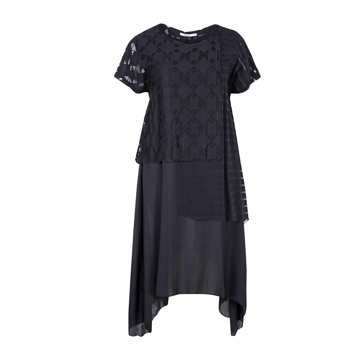 ПлатьеПлатье MAT FASHION. Струящийся покрой с наложением тонких тканей в стиле пэчворк. Короткие рукава. Закругленный вырез  . 100% полиэстер<br><br>Цвет: черный<br>Размер: 44/46 (FR) - 50/52 (RUS)