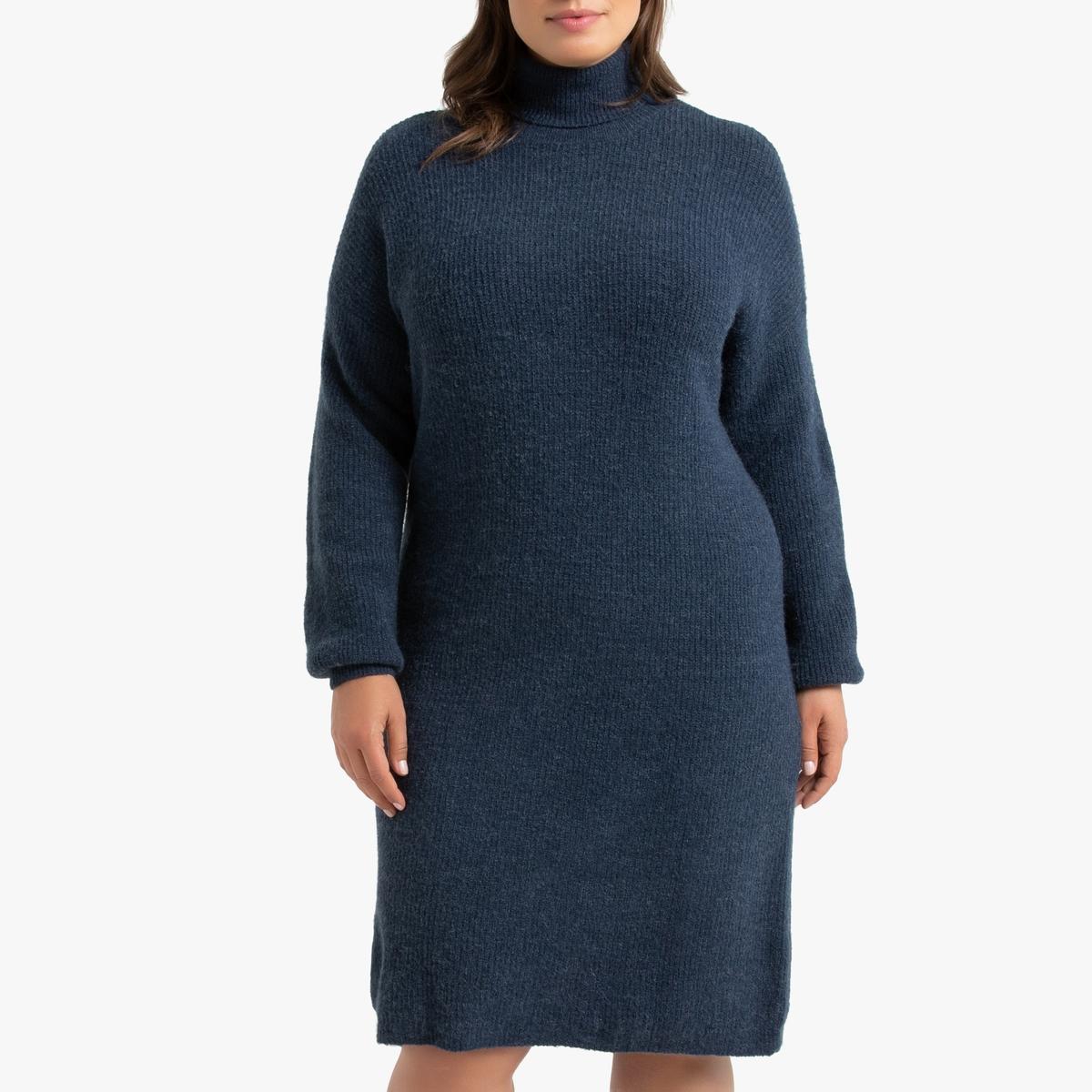 Платье-пуловер La Redoute С воротником 48 (FR) - 54 (RUS) синий