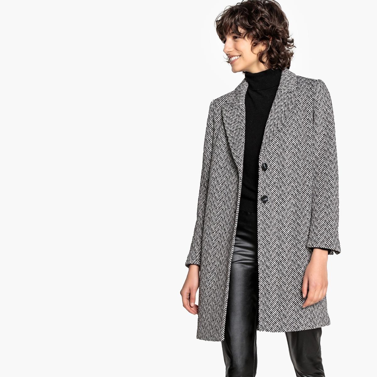 Abrigo corto estilo espiga, de lana mezclada