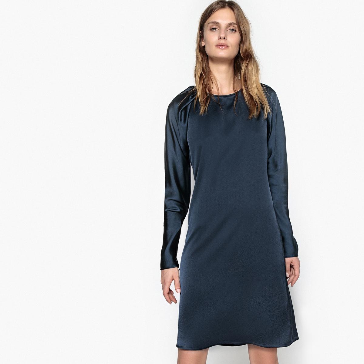 Платье короткое из двух материалов с оригинальными рукавами