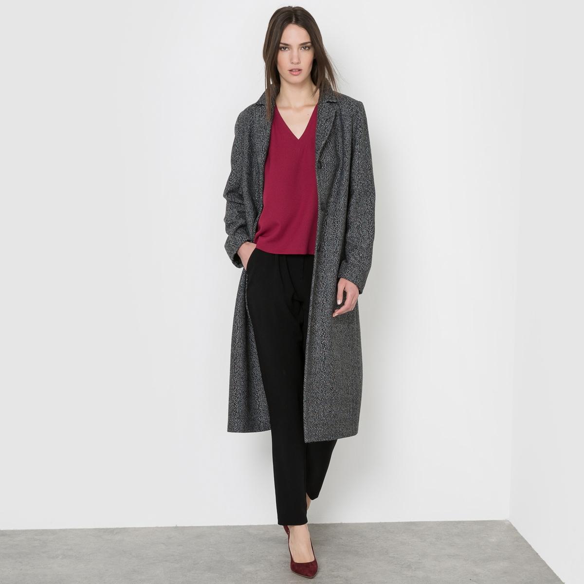 Пальто длинное с узором шеврон, 40% шерсти