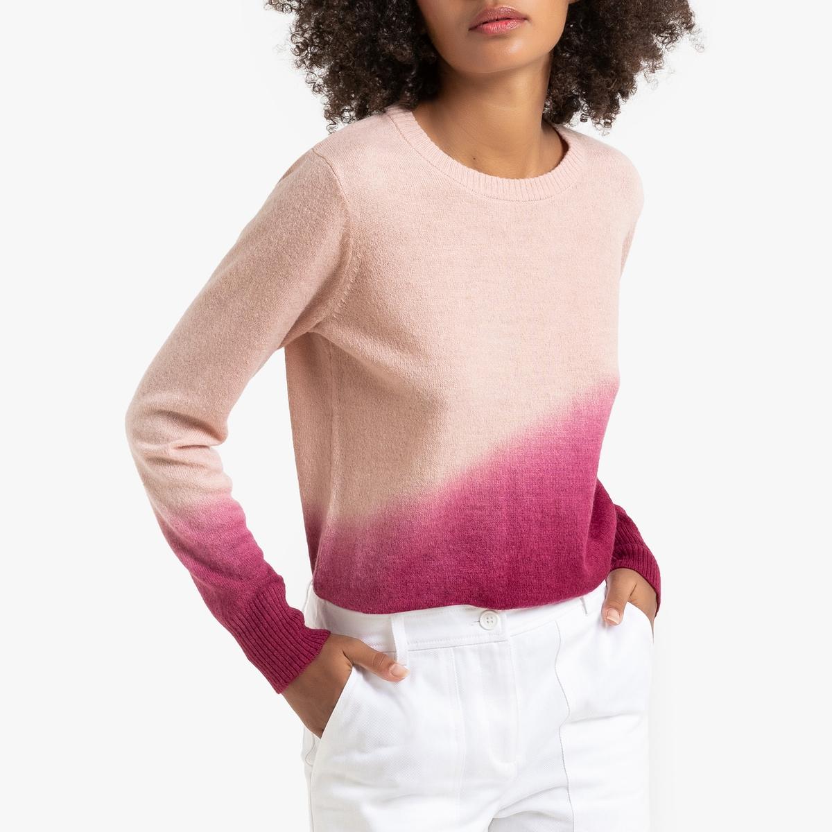 Пуловер La Redoute С круглым вырезом из трикотажа с эффектом тай-энд-дай S розовый цена 2017