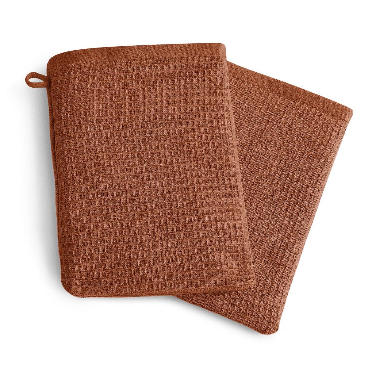 Комплект из банных рукавичек La Redoute Из хлопка и льна Nipaly 15 x 21 см каштановый