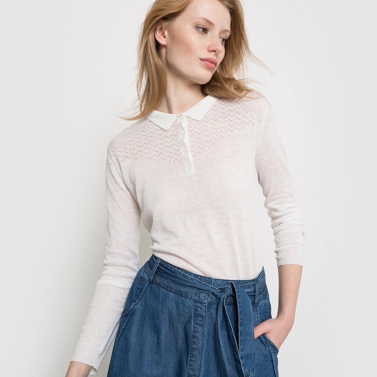 Пуловер с воротником поло из оригинального трикотажа из льна и вискозыПуловер из тонкого оригинального трикотажа придаст вашему наряду женственности.<br><br>Цвет: слоновая кость