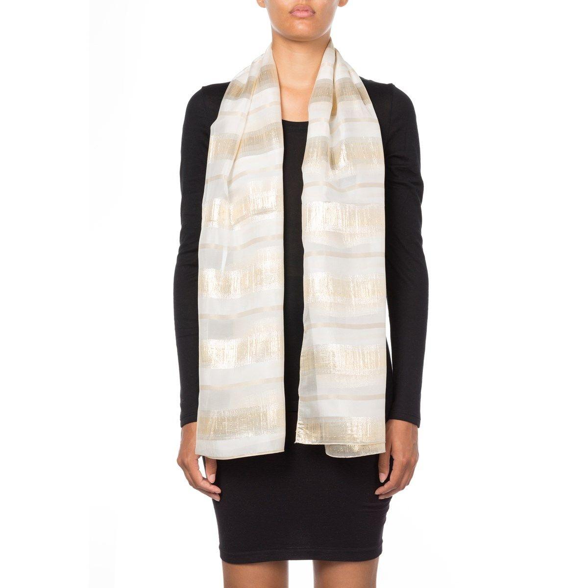 Foulard à rayures en soie et Fil textile Rosy
