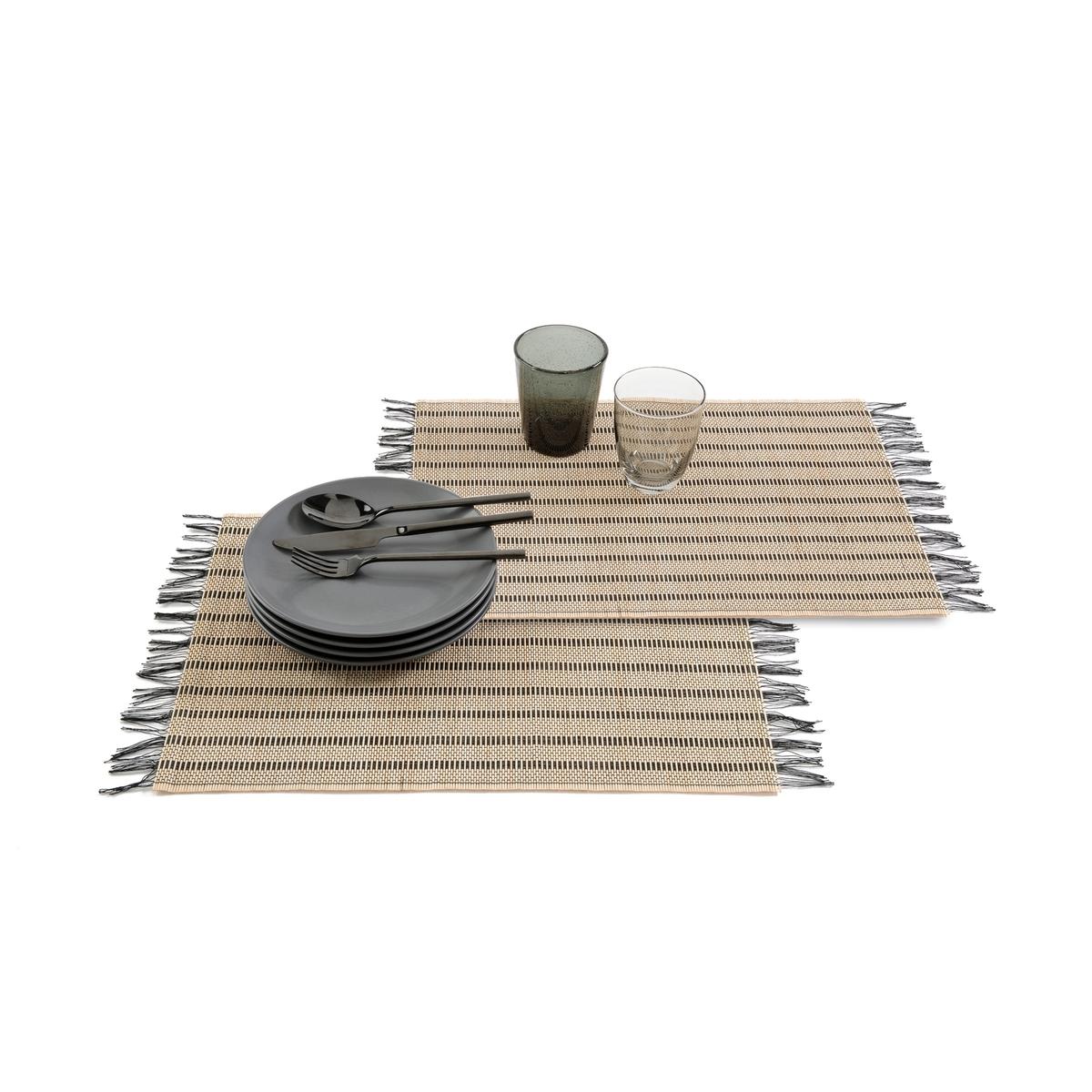 Комплект из 4 подложек под приборы с бахромой, TYPHIA набор подложек под столовые приборы феникс презент чашка чая 45 см х 30 см 4 шт 37380
